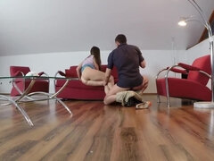 Beautiful brunette maid gets banged and filmed by her boss