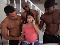 Petite babe is satisfying three black guys