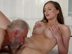 Young brunette Stacy Cruz decided to try something new and had sex with her grandfather