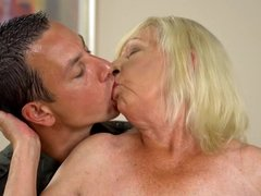 Horny granny has a surprise for her lover