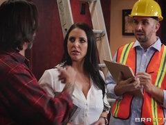 Gorgeous busty Angela White ass fucked by construction worker