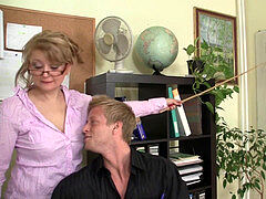 Office mature in milky stocking railing his rod