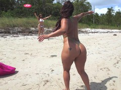 Two big assed Latinas Spicy J and Miss Raquel frolic in the sun and the sand