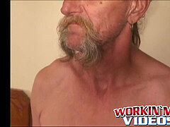 Bearded mature gay jerks off his big man rod and comes rigid