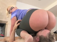 Blonde hottie with a perfect ass gets banged hard