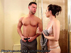 NuruMassage Casey gets Step-Cousin firm in the shower!