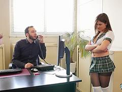 Mina Sauvage- Sexy Squirting French Girl Fucks The Principal