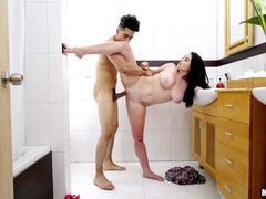 Chubby flexible teen Lennox takes a big cock in the bathroom