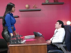 Smoking hot brunette fucks lucky dude in his office