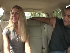 Young hunk picks up a cute blonde and fucks her in the back seat