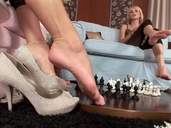 Hot lesbian chess game in bed