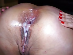 anal fisting plus creampie in her huge hole