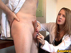 weenie jacking CFNM honey pleases her client
