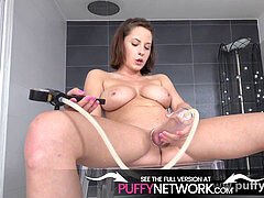 Big udders beauty peeing In Pussy Pump