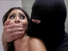 Violet Myers receives giant load on her face from intruder