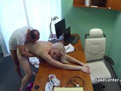 Tall blonde fucking doctor in hospital