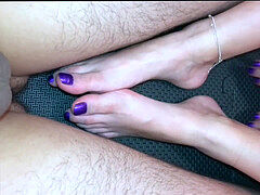 Footjob With pop-shot On Purple Toes
