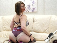 Horny Big Breasted MILF Christine playing with herself