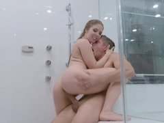 Satisfying Lena Paul with his big cock in the shower