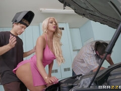 A mechanic gets sneaky blowjob from a hot busty bimbo. Part 2.