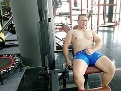 Gym climax with singlet
