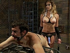 Strap-on dame ready to raid her boyfriend's  asshole