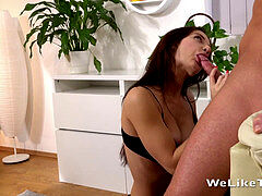 Cum In Mouth - dark haired Lana takes a throatful after deep throating her man dry