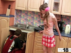 Skinny Teenage Deepthroating and Doggy Style Sex with Plumber