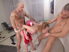 Skinny blonde Angel Emily in brutal anal threesome in gym with cum on ass