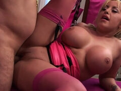 Busty Natalie toys her asshole before getting it fucked