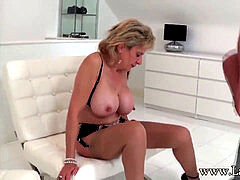 woman Sonia used by hooded fellow - blowjob and cum on tits