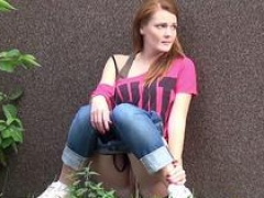 Shy and besides nervous redhead pees outside