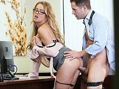 Office babe Corinna Blake gets fucked on a desk