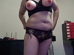 Fake Boobs - posing in lingerie top and pants. Shaved body