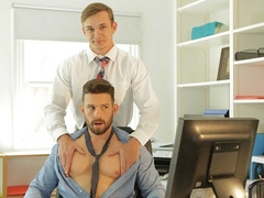 Casey Jacks and Jackson Traynor fuck at the office to alleviate stress