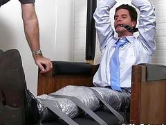 Bound and gagged man has feet violated