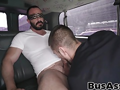 Buffed straight hunk gets tricked in a min van