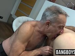 Old dude gets his hands on a young man's juicy fat meat pole