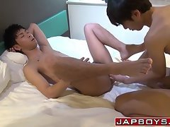 Anally banged Japanese twink cums hard with cock thrusts