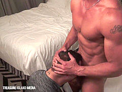 fur covered subjugated dickblower On His Knees