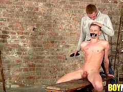 Sub Sebastian Evans shaven by maledom before facehole plow