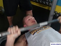 Gym hunk deepthroating after workout