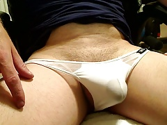 Playing in White Thong Up Close