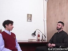 Bearded priest teases young catholic and fucks his ass raw