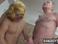 Working old man's ass hole and then letting him masturbate