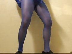 Encasement in blue pantyhose with penis sleeve