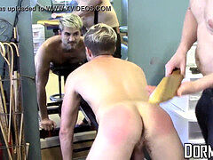 tied lad endures torment and spanking from perverted master
