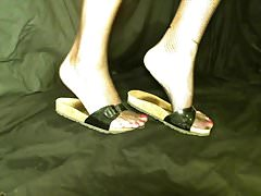 Crossdresser feet in birkenstock with net stockings pink toe