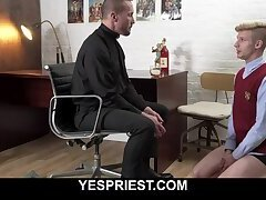 Horny priest fingers and fucks blonde church boy's tight ass