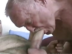 Two mature gay old grandpa fucking and sucking